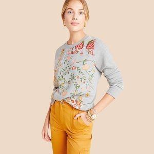 Anthropology Maeve Marcie Embroidered Sweateshirt